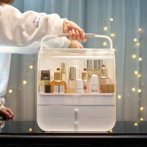 Boîte de rangement cosmétique Portable | Organisateur de maquillage de grande capacité, étui de rangement de maquillage de Type tiroir, mallette de bijoux de bureau anti-poussière