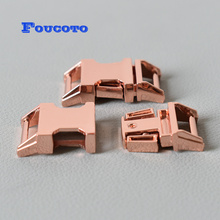 100pcs/lot rose gold metal quick release buckle belt buckles 15mm  webbing DIY dog cat collar bags backpack handmade accessories