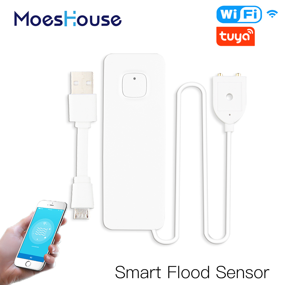 WiFi Smart Flood Sensor Water Leakage Detector Flood Overflow Alert Security Alarm System Tuya/Smart Life App Remote Control