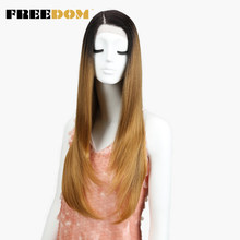 FREEDOM Synthetic Wigs For Black Women Heat Resistant Straight Dark Roots Blonde Lace Front Wigs Natural Hairline Cosplay Hair(China)