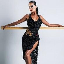 Платья для сальсы, платья для латиноамериканских танцев, женские сексуальные платья для танго, танцевальный костюм, черная Одежда для танцев, кружевное платье с трико
