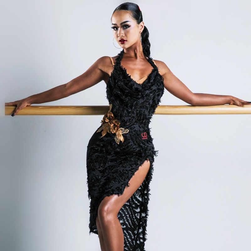 Платья для сальсы латиноамериканские танцевальные платья женские сексуальные платья для танго танцевальный костюм черная танцевальная одежда кружевное платье с трико