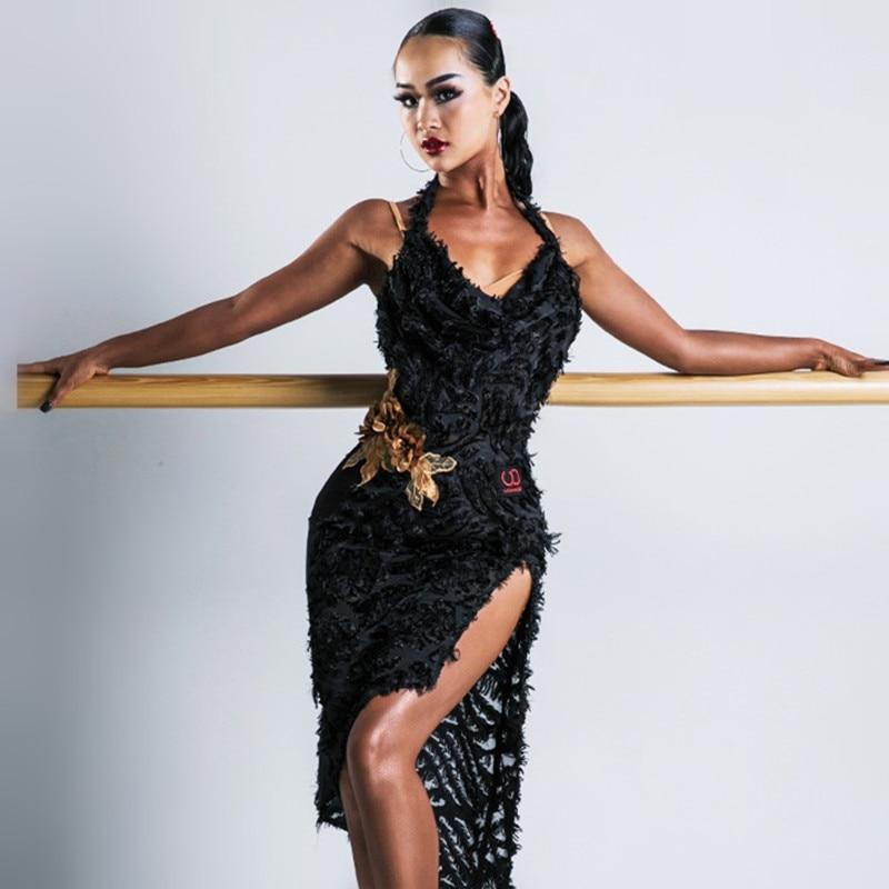 Salsa Dresses Latin American Dance Dresses Women Sexy Tango Dresses Dance Costume Black Dance Clothing Lace Dress With Leotard