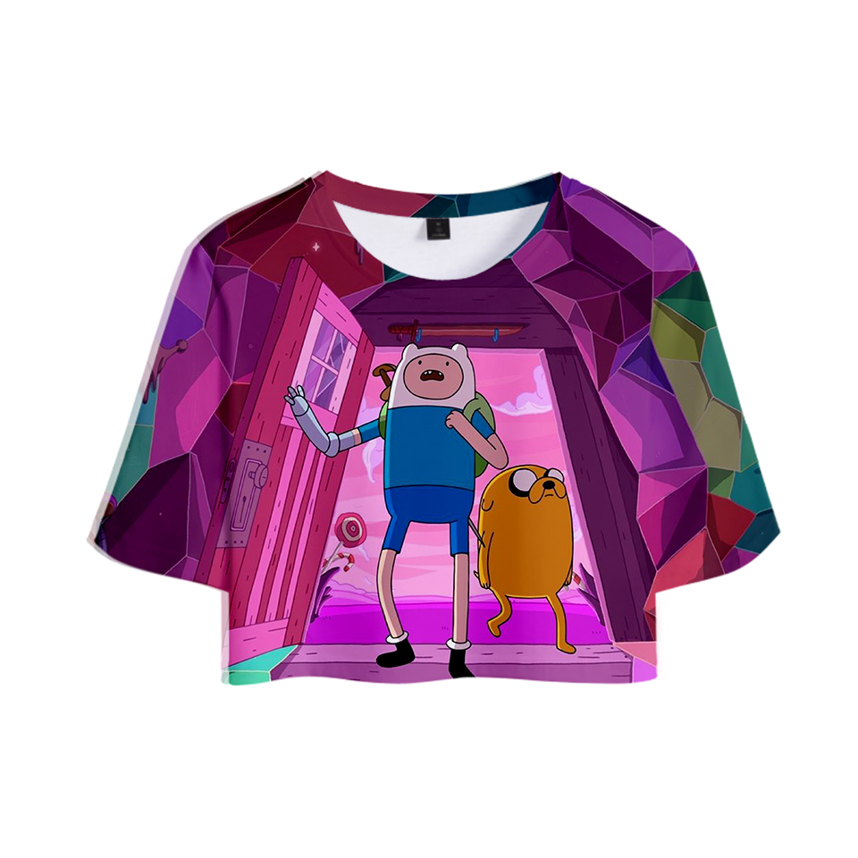 Hot Dew Navel Tshirt Adventure Time <font><b>3D</b></font> <font><b>Sexy</b></font> Girl's <font><b>T</b></font> <font><b>shirt</b></font> Style Short Tops Women Fashion <font><b>T</b></font> <font><b>Shirt</b></font> Adventure Time Cartoon Print image