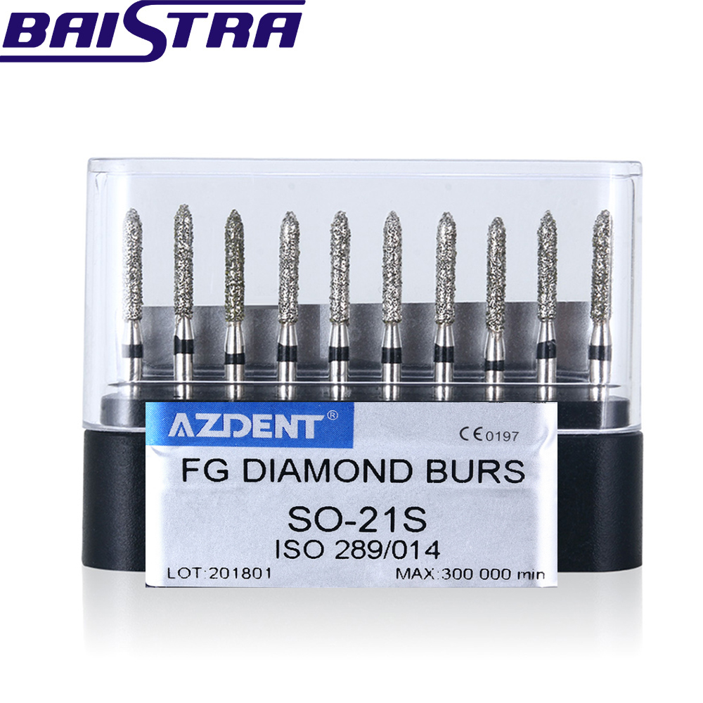 SO-21S 10 Pcs/set Dental High Speed Diamond Burs  Dentist Super Coarse Diamond Dental Lab Tools