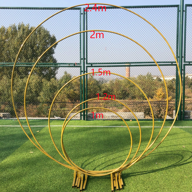 1M 2M Circle Wrought Iron Gold Shelf Wedding Arch Background Decorative Props DIY Party Stage Setting Shelf Flower with Frame