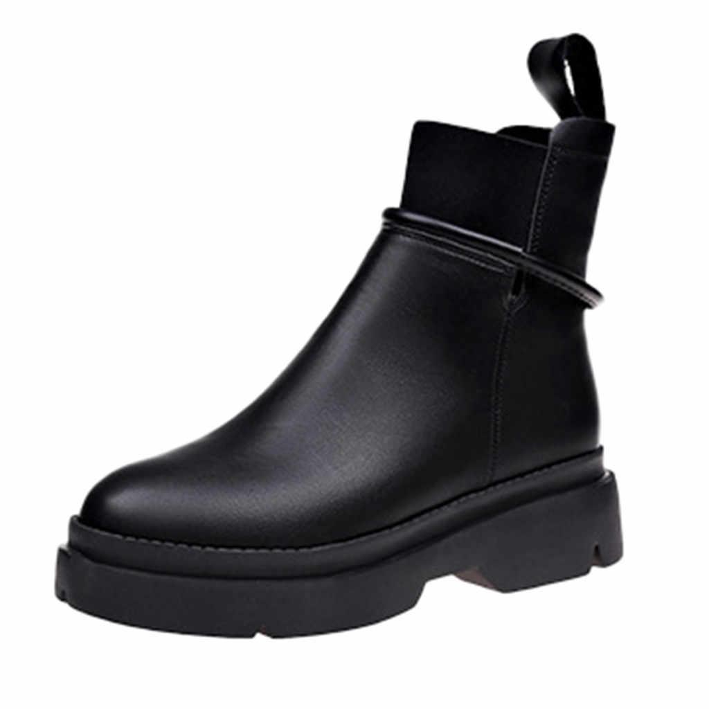 Botas cálidas de Invierno para mujer costura de suela gruesa estudiantes zapatos de goma de Color sólido Lado de cuero zapatos cortos con cremallera botas mujer
