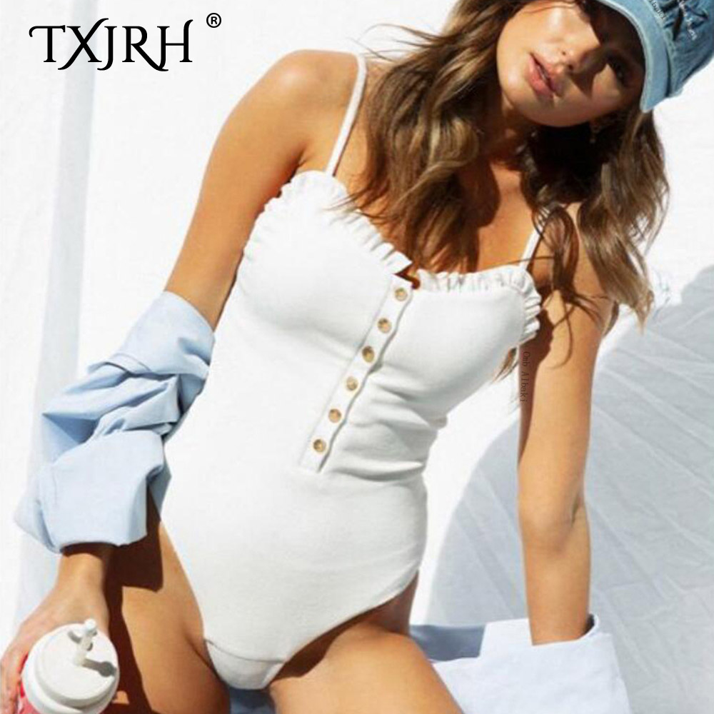TXJRH Sexy Knitted Chest Button Ruffles Wood Ears Thread Elasticity Romper Bodysuit Playsuits Spaghetti Strap Undershirt 4 Color