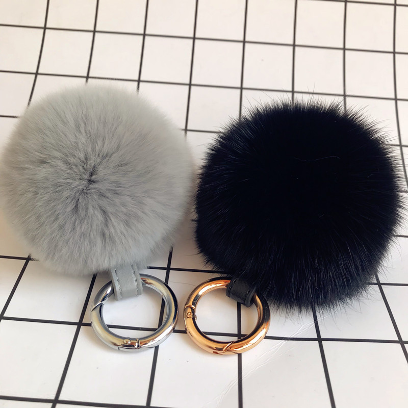 South Korea Cute Ultra Large Rex Rabbit Fur Ball Car Keychain Pendant Bag Ornament Creative Plush Ball Couples Accessories|Key Case for Car| |  - title=