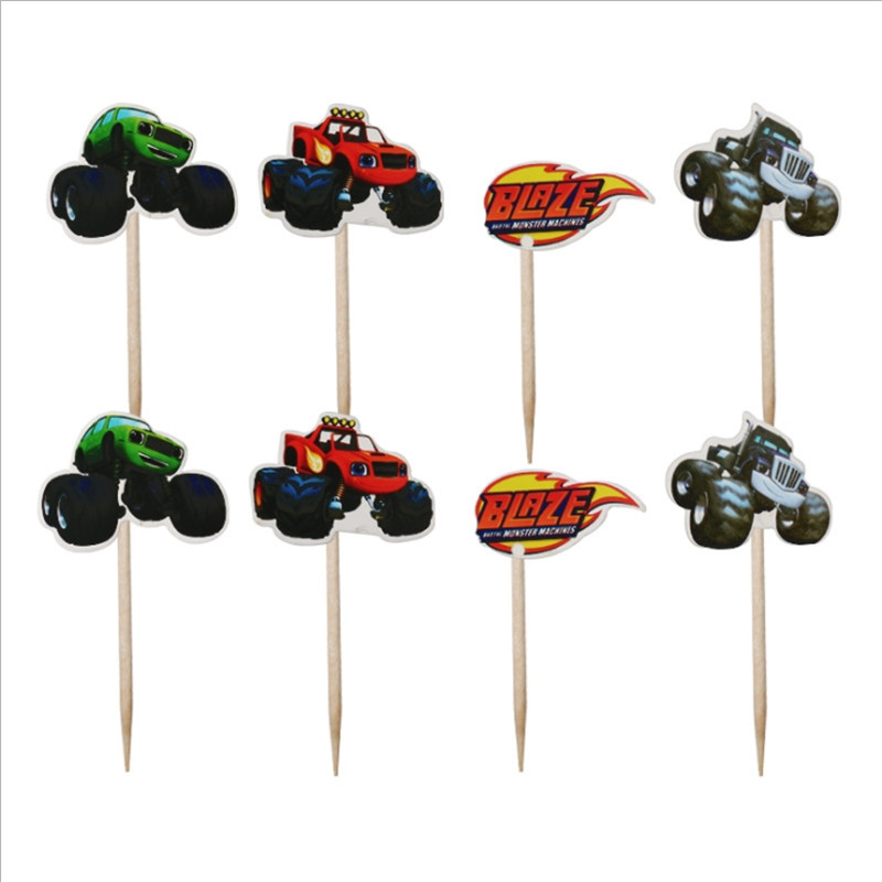 24pcs/lot Birthday Party Decoration Blaze Monster Machines Theme Cupcake Toppers With Sticks Baby Shower Boys Favors Cake Topper