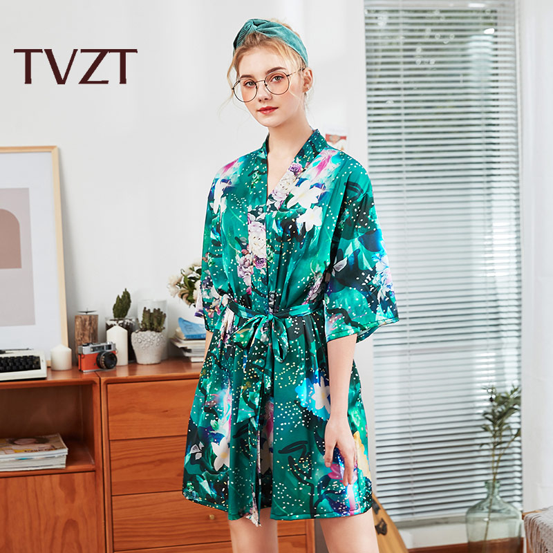 Tvzt 2020 Spring And Summer New Nightgown Women's Home Service Women's Nightgown Embellished With Flowers Printing Comfortable
