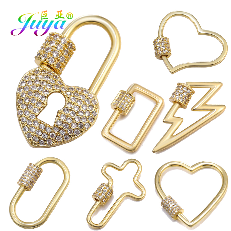 Juya DIY Jewelry Making Supplies DIY Fastener Spiral Hooks Pendant Screw Clasps Accessories For Luxury Fine Punk Jewelry Making