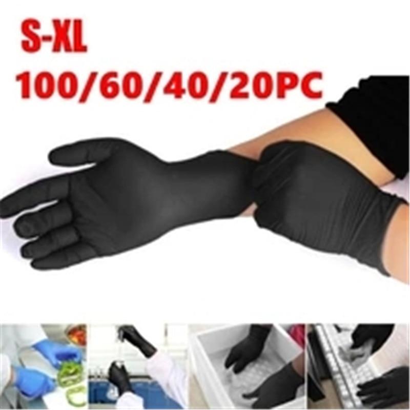 100PCS Anti-static Cleaning Washing Disposable Gloves Black Nitrile Fox Gloves Laboratory Nail Art Anti-Static Non-toxic Gloves