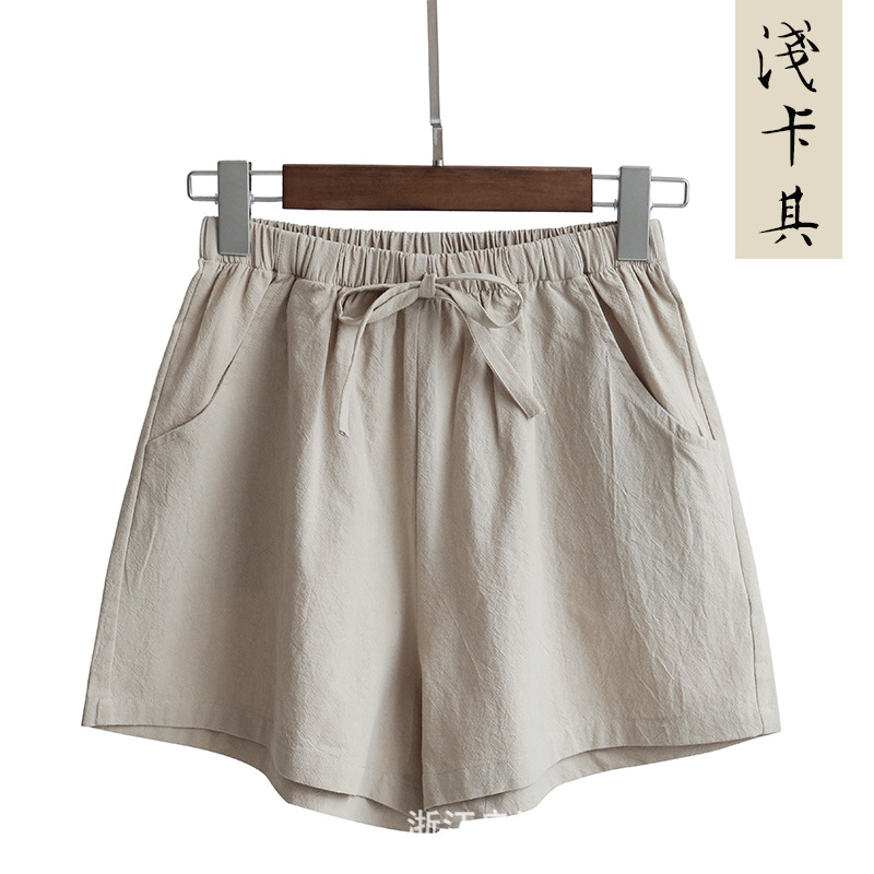 New Hot Summer Casual Cotton Linen Shorts Women Plus Size High Waist Shorts Fashion Short Pants  Streetwear Women's Shorts 14