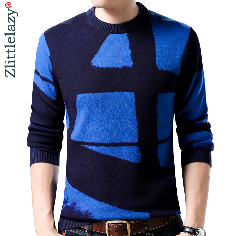 2019 New Line Pull Mens Sweaters Casual Thick Male Pullover Sweater Slim Fit Men Blusa Masculina Clothes Jersey Sweter Man 61189