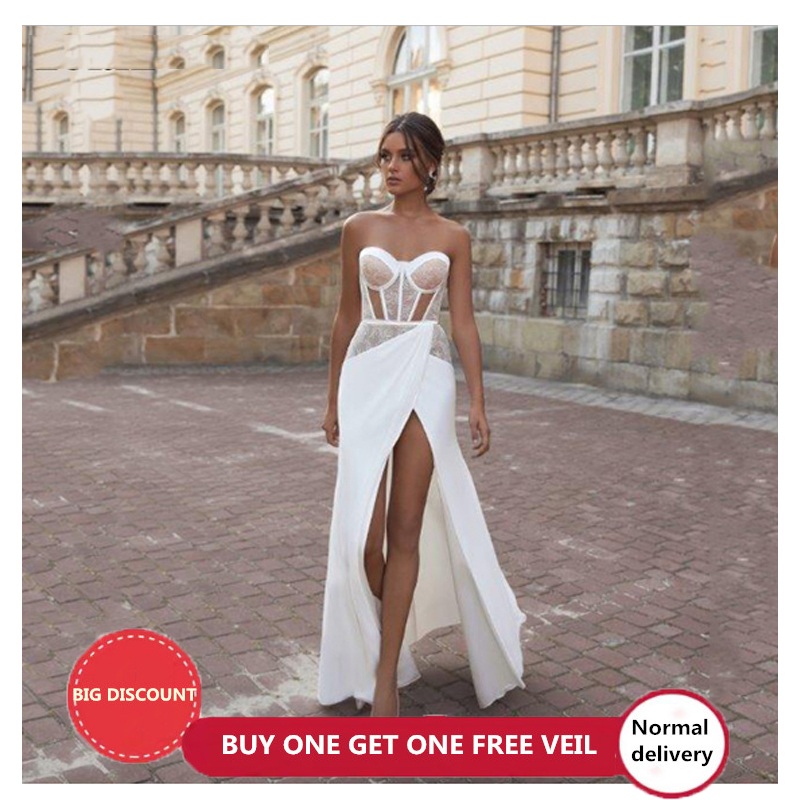LORIE Beach Mermaid Wedding Dresses Sweetheart Neck Lace Bride Gown Sexy Side Split Satin Vestido De Novia 2020
