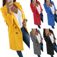 Шерстяное Женское пальто размера плюс приталенное элегантное