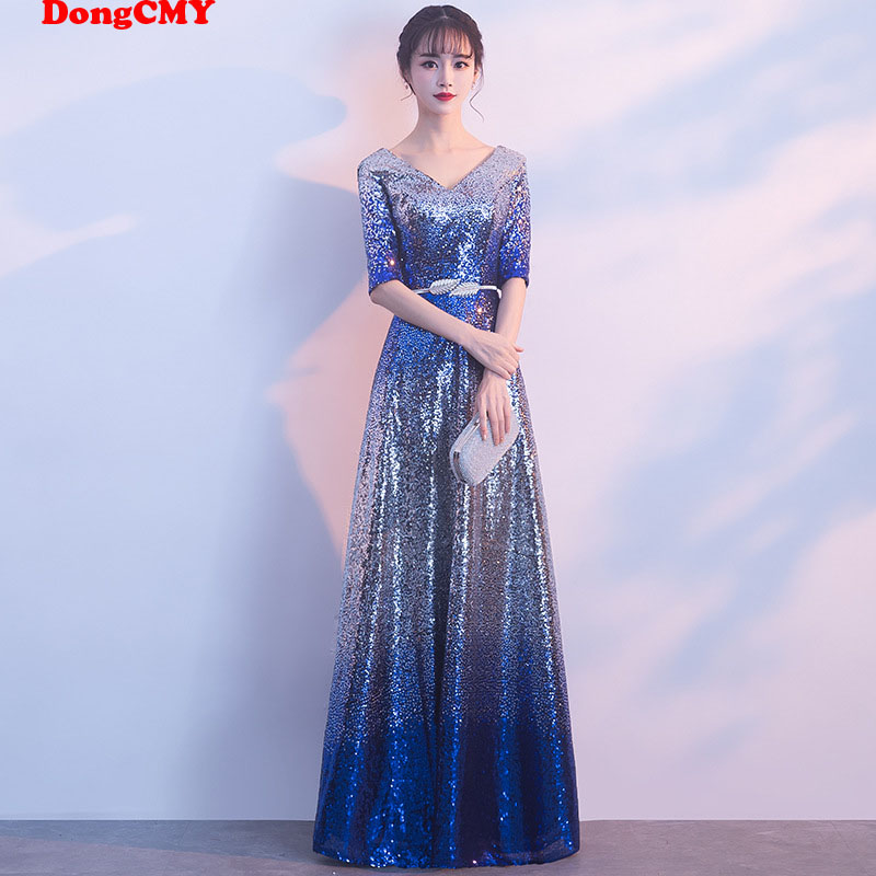 DongCMY New 2020 Long Formal Dresses Evening Plus Size Sequined Robe De Soiree Party Gown