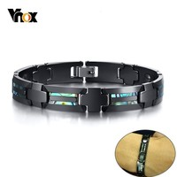 Vnox Stylish Mens Magnetic Bracelets with Shell Unique china and Hematite Link Chain Wrist pulseira masculina 20cm