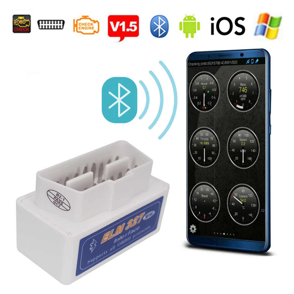 Elm327 V1.5 Bluetooth OBD2 II Android IOS PC Scanner Mobil Alat Diagnostik untuk Jeep Citroen Lexus CT Scan Ialah GS LS NX GX RX LX UX LC