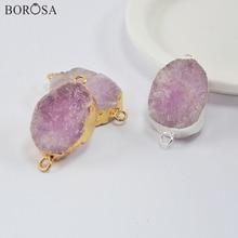 5/10Pcs Gold/Silver Plated Rough Kunzite Jaspers Connector Pendant for Necklace Rose Gems Minerals Beads Bracelet DIY G1990
