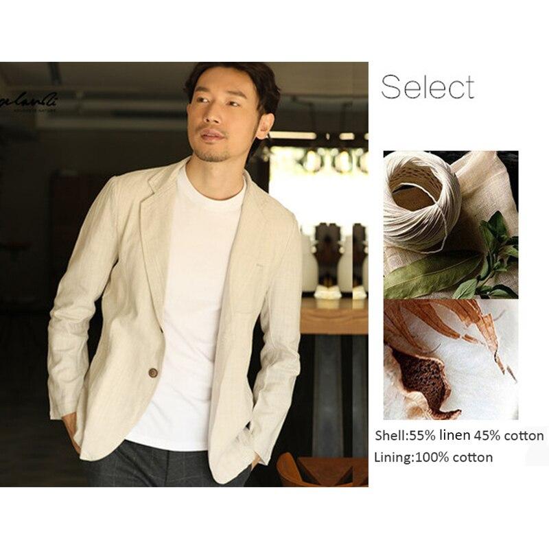 H44447ee07a5e40edb84c701135021e3e9 - 55% Linen 45% Cotton Breathable Anti-static Cool Man Suit Jacket Quality Casual Male Spring Autumn Single Breasted Men Blazer
