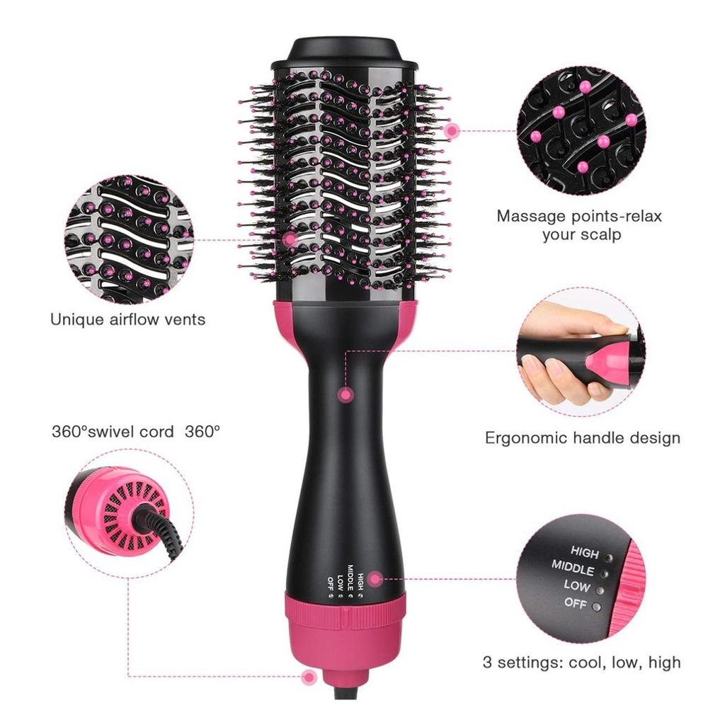 Electric Hair Straighter Comb 3 In 1 Multifunction Negative Ion Hair Dryer And Volumizer Hair Curler Brush Wet And Dry Use