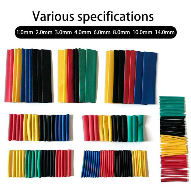 164 pz/set PVC Tubi Termorestringenti Kit Termoretractil Poliolefina Termoretraibile tubo Assortiti Filo di Guaina Isolante Wire Cable Wrap