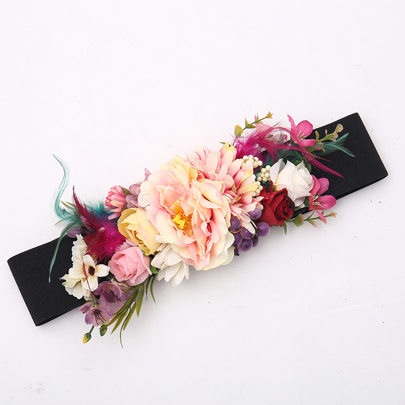 New Style Feather Super Wide Belt Waist Cover Cross-border Special For Bridal Flower Elastic Woven Belt Accessories