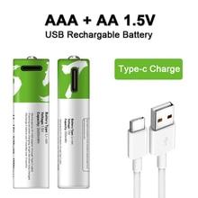 Nowa bateria AA + AAA AA 1.5V 2600mWh/1.5V AAA 550mWh Usb akumulatory litowo-jonowe do zabawka elektryczna bateria + kabel