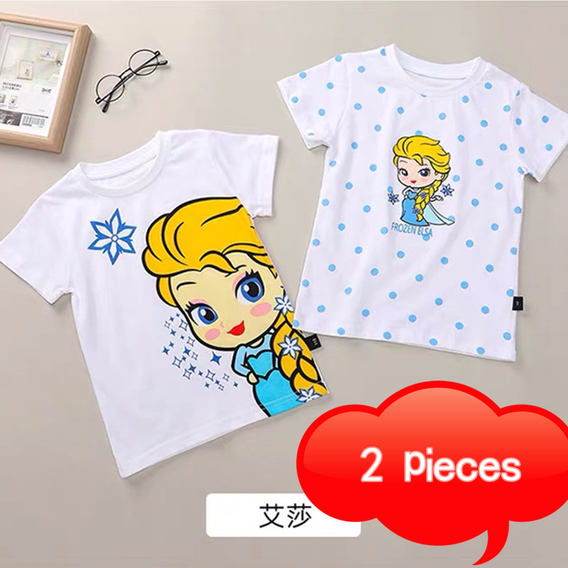Summer Children's Clothes Cotton Graphic T-shirt Cartoon Pattern Jingle Cat Bread Superman Boy Clothes Aisha Snow Girl Clothes