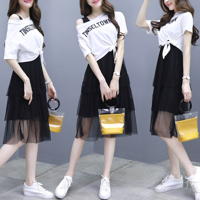 2019 Summer Wear New Style Korean-style Method First Love Very Fairy Of France Non-mainstream Gauze Two-Piece Dress