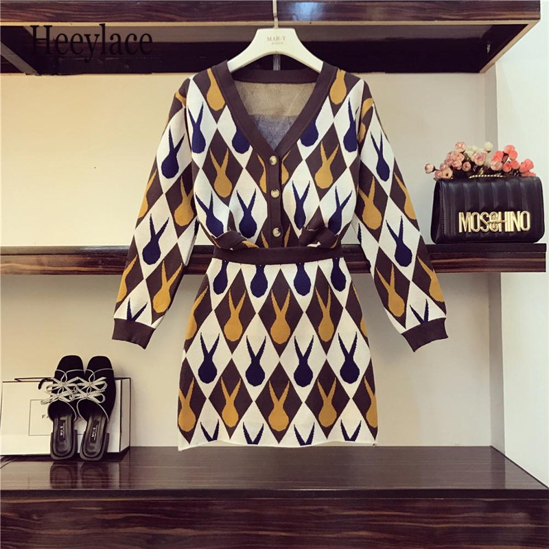 Women's Autumn Winter Jacquard Knitted 2pcs Sets V-Neck Fashion Retro Single Breasted Cardigans+Elastic Waist Mini Skirt Set New