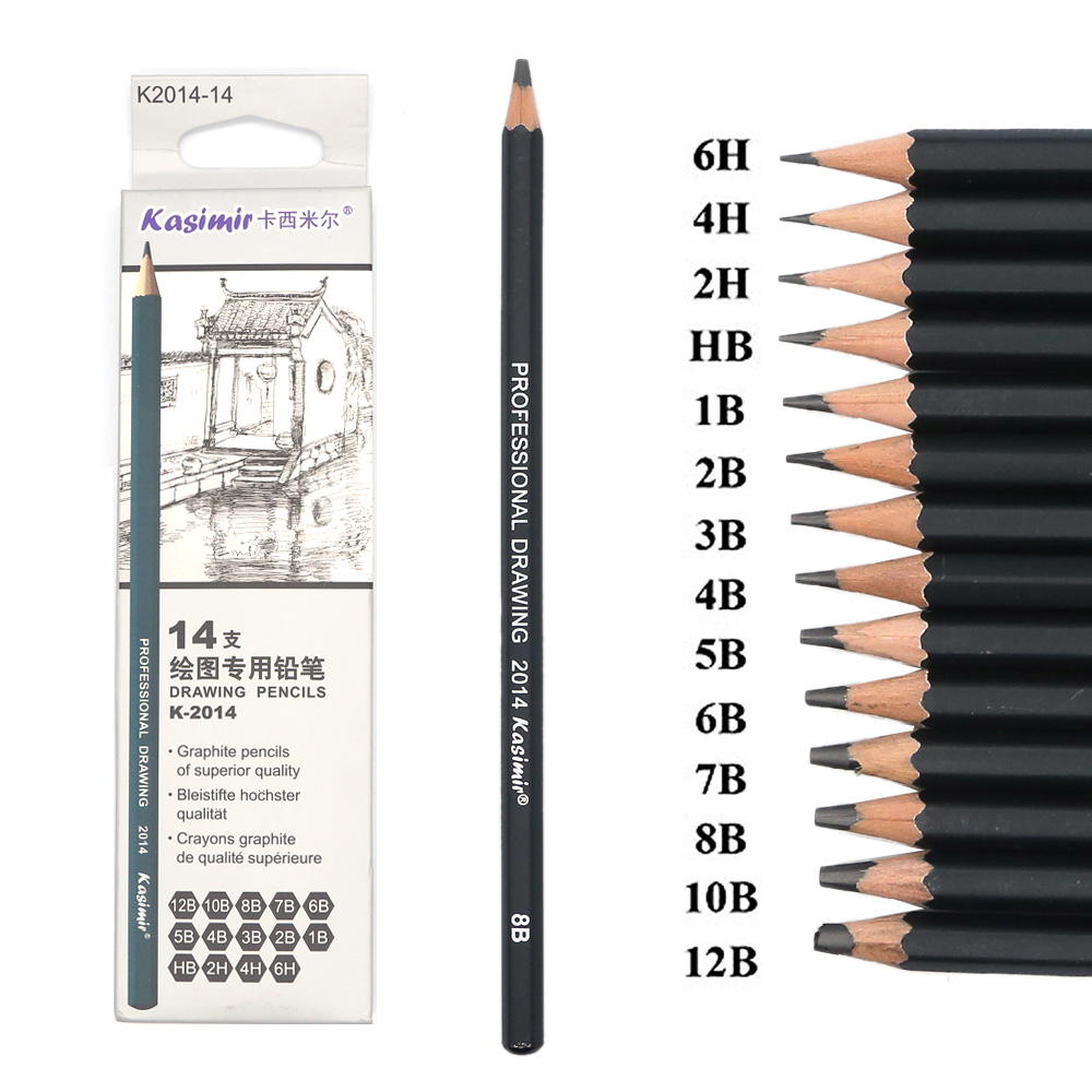 14 Pcs/set Professional Art Sketch Drawing Writing Pencil1B 2B 3B 4B 5B 6B 7B 8B 10B 12B 2H 4H 6H HB Pencil Stationery Supplies(China)