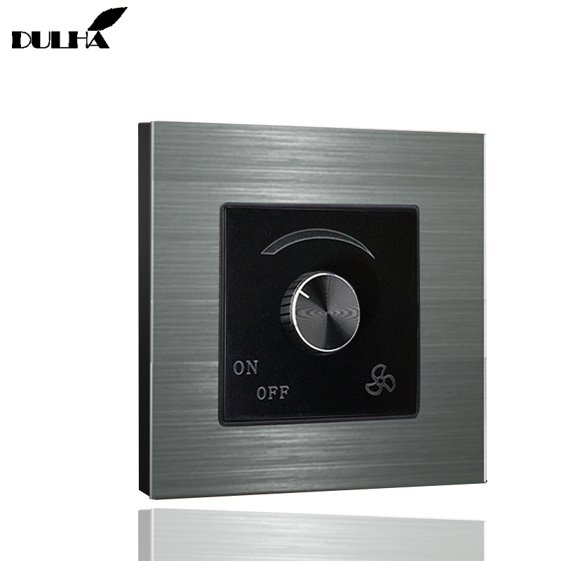 AC220V 10A Wall Ceiling Fan Speed Dimmer Switch, Adjustable On/Off Dimming Switches, Luxury Brushed Satin Metal Aluminum Panel