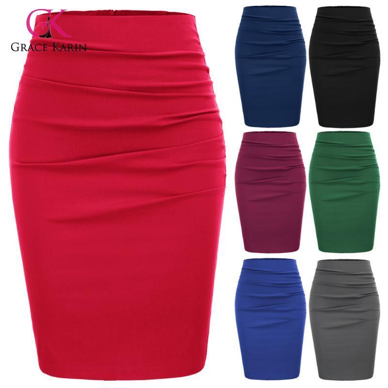 Grace Karin 2020 Summer New Office Skirt Women Vintage Elegant High Waist Slim Skirt Ladies Solid Midi Pencil Skirt Female