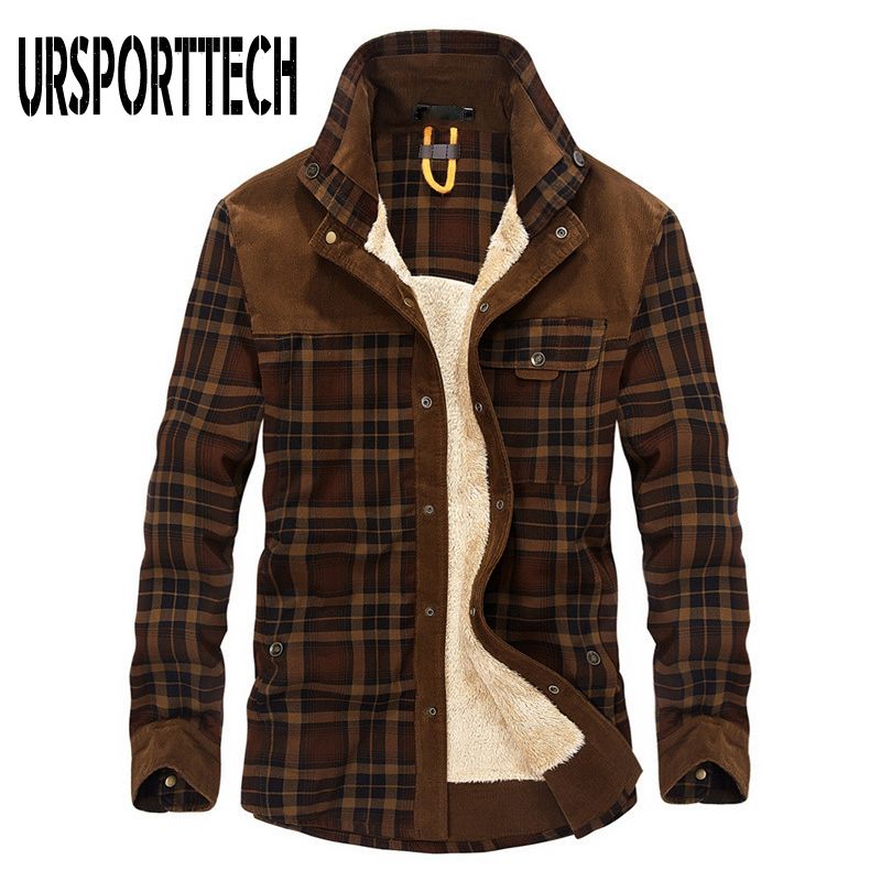 New Men Shirt Winter Thick Plus Velvet Warm Plaid Dress Shirts Long Sleeve Men's Work Shirts Casual Slim Fit Camisa Social Shirt