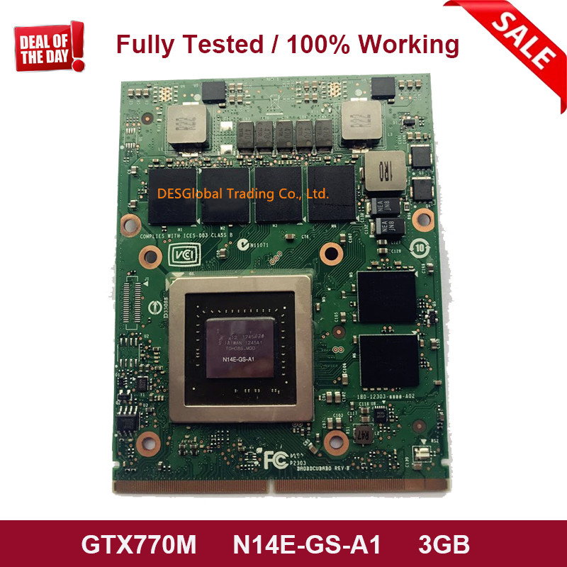 Original <font><b>GTX</b></font> <font><b>770M</b></font> GTX770M VGA Graphics Video Card N14E-GS-A1 3GB DDR5 for Laptop Dell Alienware M17X M18X MXM Fully Tested image