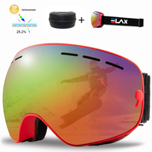 ELAX Ski Goggles Anti-Fog Snowboard Glasses UV400 Double Layers Skiing Mask Goggles Winter Outdoor Snow Sunglasses with Box