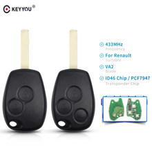 KEYYOU 2 Buttons Keyless Remote Control Key Fob 433MHz with PCF7947 Chip For Renault Clio Kangoo Master Modus Twingo(China)