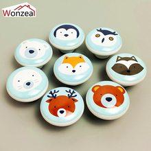 1PCS Ceramic Carton Handles Single Round Knobs Wardrobe Kitchen Garden Door Pulls For Kids Children Drawer Cabinet Handle