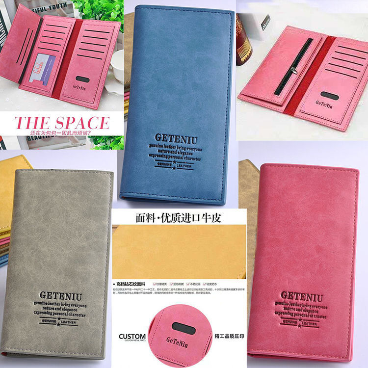 Thin Card Bit More Three Fold Large-Volume Couples Wallet Gothic Cattle MEN'S AND WOMEN'S Long Wallet Top Grade Dull Polish Leat