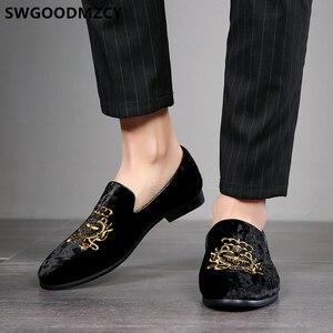 Image 3 - Resmi ayakkabı erkekler klasik İtalyan marka erkek parti ayakkabıları kuaför nakış Mens elbise ayakkabı mokasen Sepatu üzerinde kayma Pria 48 Bona