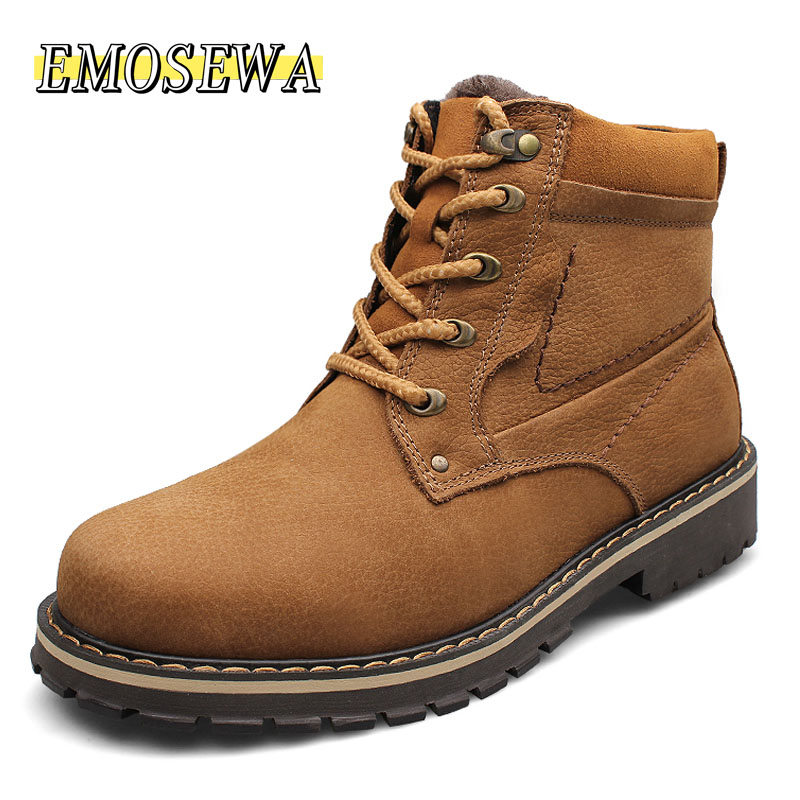 EMOSEWA Brand Plus Size 37-52 Genuine Leather <font><b>Men</b></font> Boots Man <font><b>Shoes</b></font> With Fur Male <font><b>Winter</b></font> Boots Warm Snow Boots Waterproof Work image