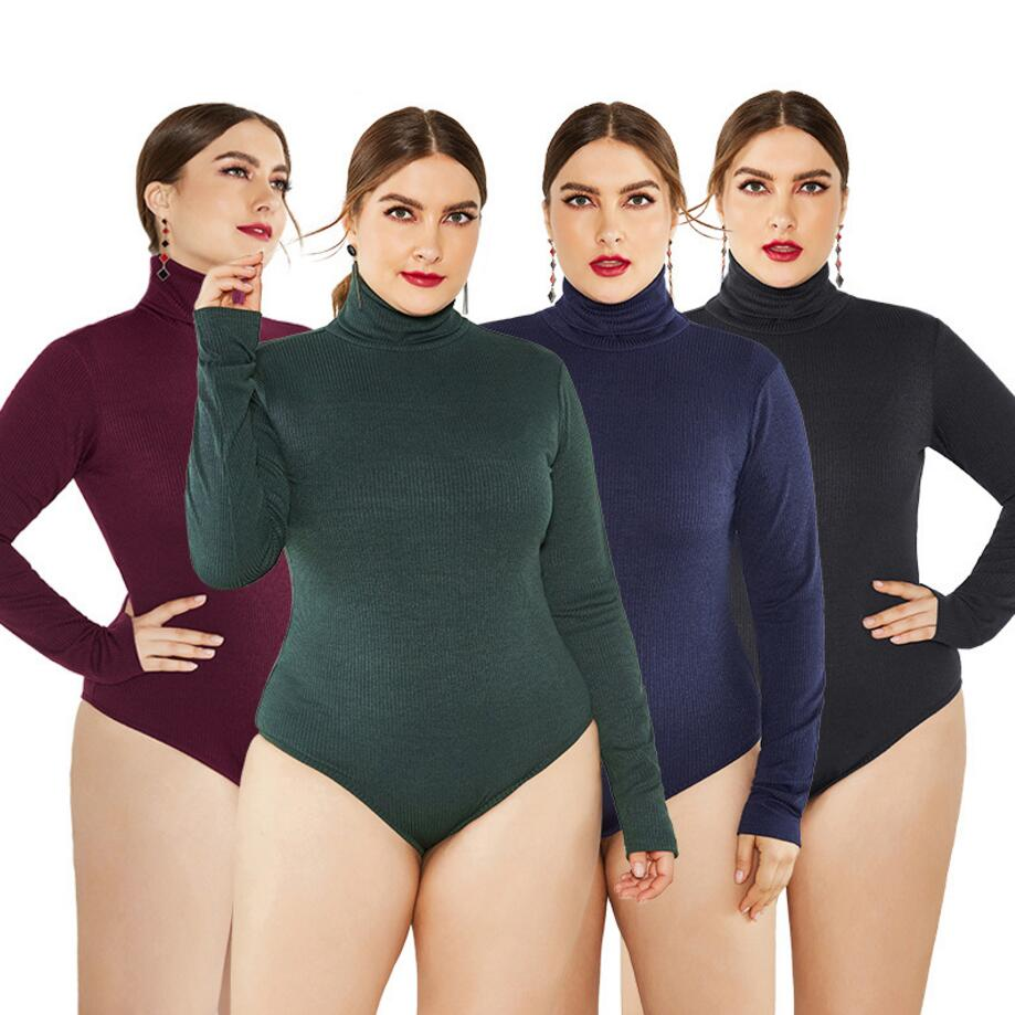 <font><b>5XL</b></font> <font><b>Autumn</b></font> Winter Keep Warm Women Jumpsuit High Neck Long Sleeve Knitted Bodysuit Plus Size Women Clothes Stretch <font><b>Sexy</b></font> Romper image