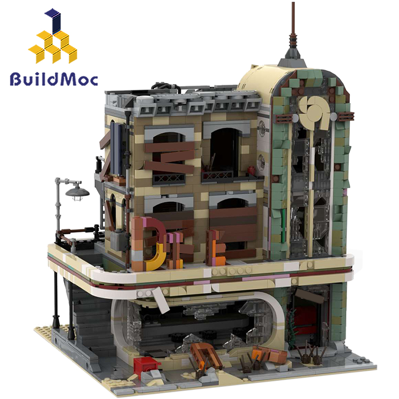 BuildMOC Street View Series Downtown Diner 10260 40173 In Stock Building Blocks Creator Bricks Model 99004 19001