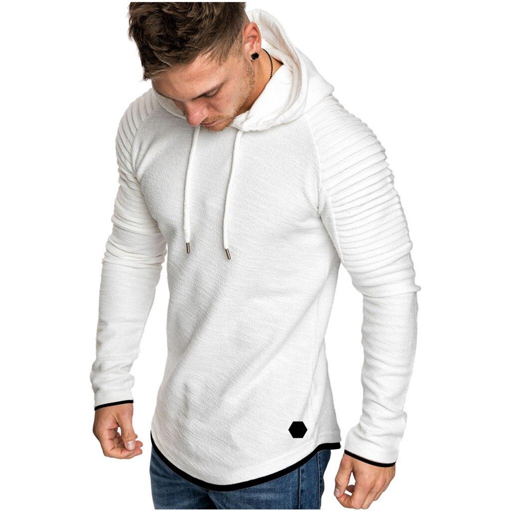 H4445fe5980824915a6e18fe26192788dM Men Hoodies Sweatshirts 2019 Autumn Pleats Slim Fit Raglan Long Sleeve Hoodie Tops Men Solid Hoodie Pullover Men Outerwear Tops