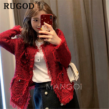 RUGOD 2019 new ladies cardigan sweater coat Korean Pearl beading pockets auturm blazer Female Casual Tassel sweet  blazers