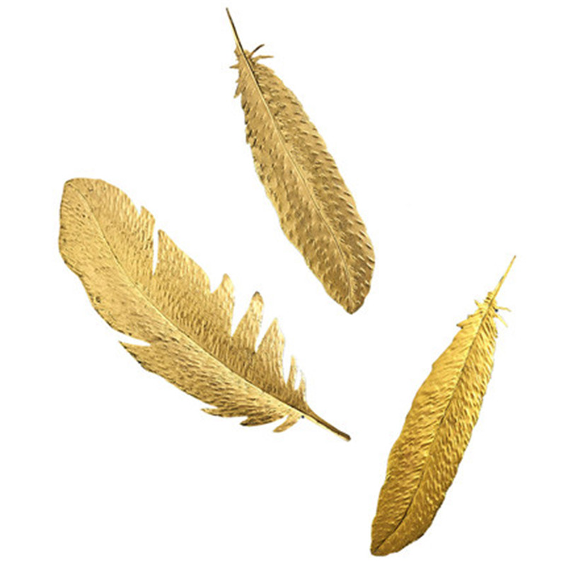 Nordic Golden Feather Wall Hanging Wall Decoration Living Room Porch TV Background Wall 3D Refinement Decoration M3650