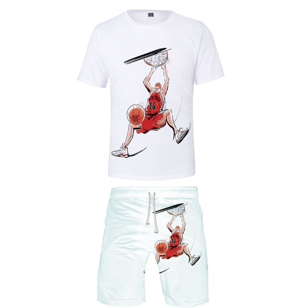 SLAM DUNK Two Piece Set Tshirt And Shorts Harajuku Men SLAM DUNK T Shirt Streetwear Harajuku Short Sleeve Plus Size